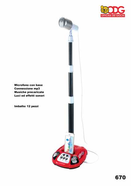 ODG Amplificatore Con Microfono, Asta Regolabile E Tanti Effetti Vocali E Luminosi (ODG670)