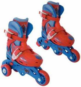 Mondo Toys - Marvel Spiderman - 3 In Line Skates - Pattini  Doppia Funzione Regolabili - Ruote PVC - Roller Bambino / Bambina - Size S / Mis. 29/32 - 28631