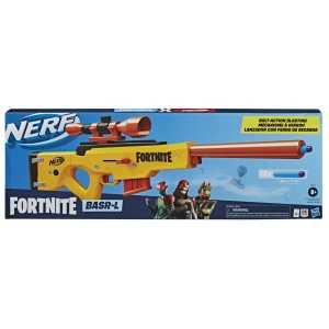 Hasbro Nerf Fortnite-BASR-L Bolt Action (Blaster Con Caricatore A Clip, Include Cannocchiale Rimovibile E 12 Dardi Originali Nerf Elite), E7522