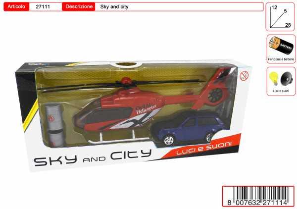 SET AUTO ELICOTTERO CM 20 LUCI SUONI - Toys Garden (27111)