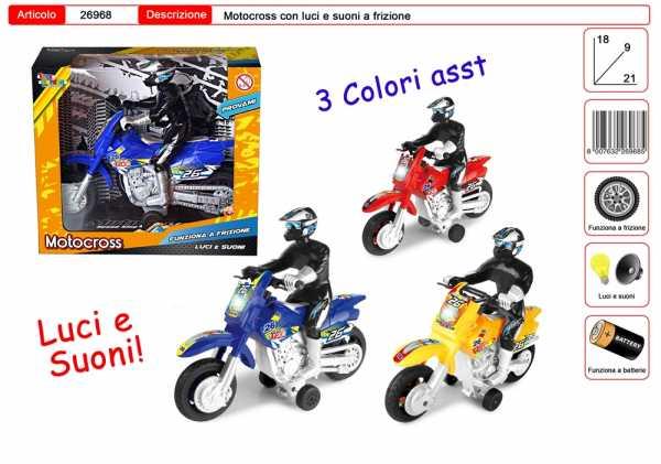 MOTO CROSS PERSONAGGIO LUCI SUONI 3 COLORI CM 21 - Toys Garden (26968)