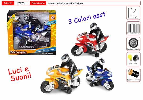 MOTO CORSA PERSONAGGIO LUCI SUONI 3 COLORI CM 21 - Toys Garden (26970)