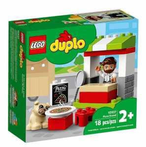 LEGO Duplo Town Chiosco Della Pizza, Set Di Costruzioni Ricco Di Dettagli Per Bambini 2+ Anni, Con Il Personaggio Del Pizzaiolo, Un Cagnolino E Tanti Accessori, 10927
