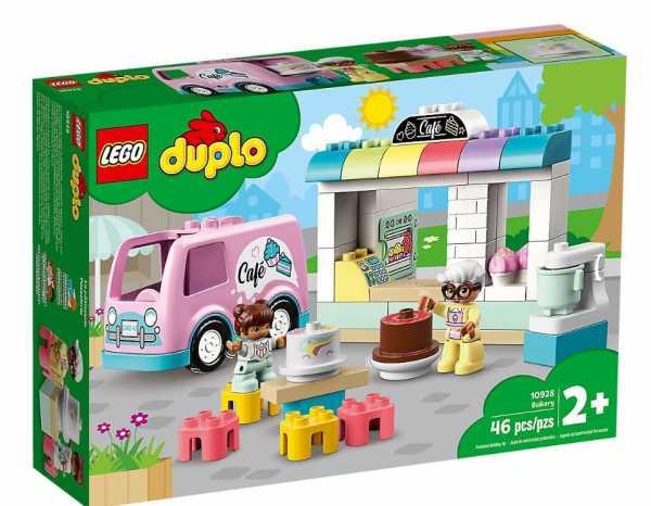 LEGO Duplo Town Pasticceria Con Bar E Furgone Delle Consegne, Con Due Personaggi LEGO DUPLO: Mamma E Bambina, Set Di Costruzioni Per Bambini +2 Anni Ricco Di Dettagli, 10928
