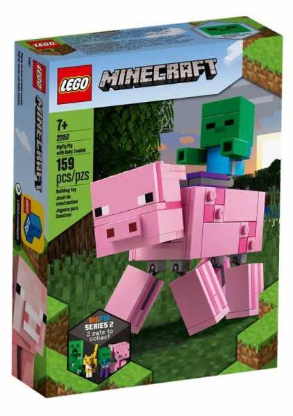 LEGO Minecraft - Maxi-Figure Maiale E Baby Zombi, Set Di Costruzioni Per Bambini +7 Anni, Per Collezionisti Ed Appassionati, 21157