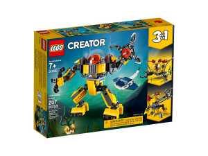 LEGO Creator 3in1 31090 Robot Sottomarino; Set Di Costruzioni 3in1 Per Costruire Un Sottomarino O Una Gru O Un Robot Sottomarini Per Esplorare, Un Regalo Per Ragazzi Dai 7 Anni