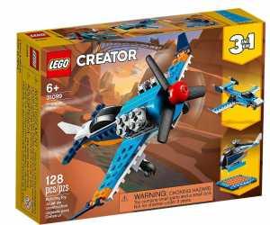 LEGO Creator 3in1, Aereo A Elica, Set Di Costruzioni Ricco Di Dettagli Per Bambini 6+ Anni, 3 Esperienze Di Gioco E Costruzione: Un Aereo, Un Jet E Un Elicottero, 31099