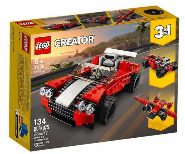 LEGO Creator 3 In 1 Set Di Costruzioni Ricco Di Dettagli: Scegli Tra Un'Auto Sportiva, 1 Bolide O 1 Aereo Vintage, Per Bambini +6 Anni, 31100