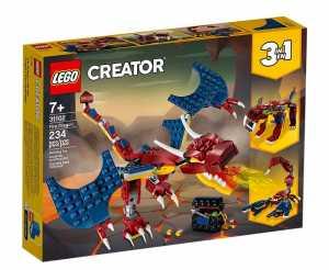 LEGO Creator 3 In 1 Set Di Costruzioni Ricco Di Dettagli Per Costruire Drago Sputafuoco, Tigre Dai Denti E Scorpione, Per Bambini +7 Anni, 31102