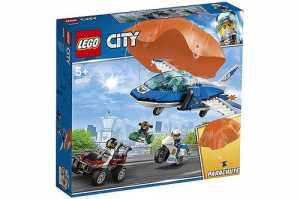 LEGO City Police Arresto Con Il Paracadute Della Polizia Aerea, Con Il Jet Della Polizia E Un Paracadute In Tessuto, Set Di Costruzioni Ricco Di Dettagli Per Bambini Dai 5 Anni, 60208