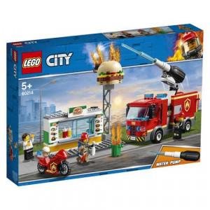LEGO City Fire Fiamme Al Burger Bar Con 3 Minifigures, Una Autopompa Dei Pompieri Con Lancia Elementi Acqua, Set Di Costruzioni Ricco Di Accessori E Dettagli Per Bambini Dai 5 Anni, 60214