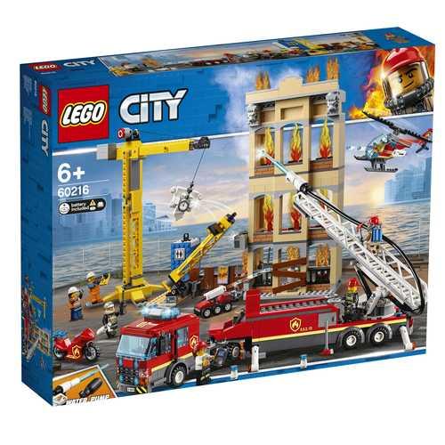 LEGO City Fire Missione Antincendio In Città, Con 7 Minifigures, Un Edificio, Un Camion Dei Pompieri Con Funzioni Sonore E Luminose E Un Elicottero, Set Di Costruzioni Per Bambini Dai 6 Anni, 60216