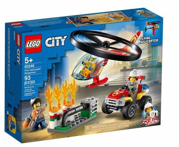 LEGO City Fire Elicottero Dei Pompieri, Set Di Costruzioni Con Minifigure: Operaio, Pompiere, Freya Mccloud, Con Accessori, Per Bambini +5 Anni, 60248