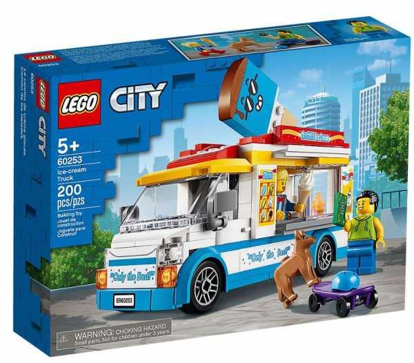 LEGO City Great Vehicles Furgone Dei Gelati Con 2 Minifigure E 1 Cane, Più 1 Serie Di Accessori, Set Di Costruzioni Per Bambini +5 Anni, 60253