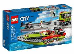LEGO City Great Vehicles - Trasportatore Di Motoscafi Con 2 Minifigure, Set Di Costruzioni Per Inventare Tante Storie Dentro E Fuori Dall'Acqua, 60254