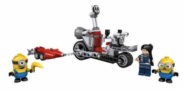 LEGO Minions Moto Da Inseguimento, Set Di Costruzioni Con Personaggi Minion Bob, Stuart E Gru, Un Regalo Di Compleanno Adatto Per I Fan Dei Minion, 75549