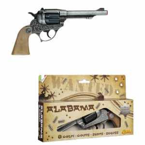 Villa Giocattoli 1590 - Alabama Pistola In Metallo, 8 Colpi, Plastica, Nero