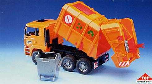 Bruder Spielwaren Camion Rifiuti Arancio Man Tga