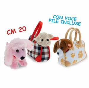 Peluche Cane + Trasportino Cm 20 Con Voce Pile Incluse 39151
