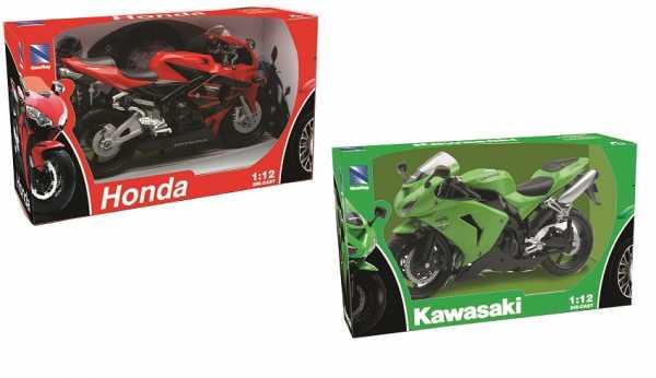 New Ray 42443 A - Moto Kawasaki ZX 10 R/ Honda CBR, Veicolo In Miniatura, Scala 1:12, Colori E Modelli Assortiti