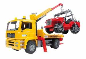 Bruder 02750 - Camion MAM TGA Trasporto Jeep