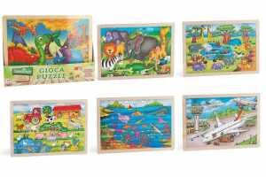 Globo Giocattoli Globo-36556Puzzle In Legno (48 Pezzi) 40x 30cm 6motivi Assortiti Legnoland