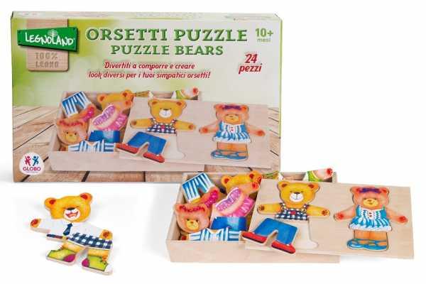 Legnoland 38098 - Puzzle Coppia Orsetti