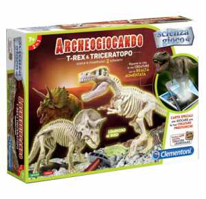 Clementoni- Archeogiocando T-Rex & Triceratopo, Multicolore, 13984