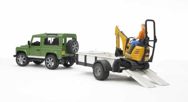 Bruder Land Rover Defender Station Wagon With One Axle Trailer, Jcb Micro Excavator 8010 Cts
