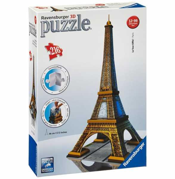 Ravensburger Italy- Puzzle 3D Eiffel Tower Paris, 216 Pezzi, 125562