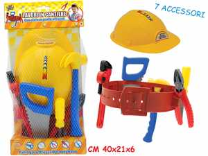 Teorema- Mr. Boy-Set Lavori In Cantiere Con Casco 7 Accessori, Multicolore, 63739