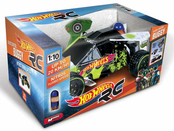 Hot Wheels G028093 - Buggy Nitro Radiocomandato Con Batterie Ricaricabili, Scala 1:10