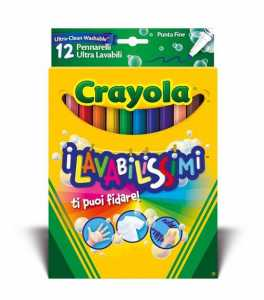 Crayola 58-8331 - I Lavabilissimi 12 Pennarelli, Punta Fine