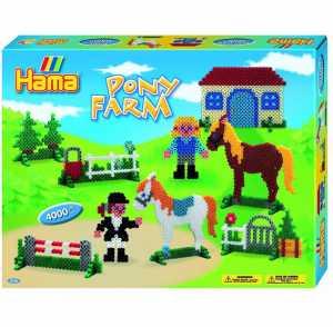 Hama 3136 - Set Da Regalo Di Perline Da Stirare, Soggetto: Pony Farm, Circa 4000 Pz. E 2 Tavolette [Lingua Inglese]