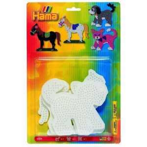 Hama - Confezione Da 3 Tavolette Forate Per Arte Creativa, Motivo: Gatto/Cane/Cavallo