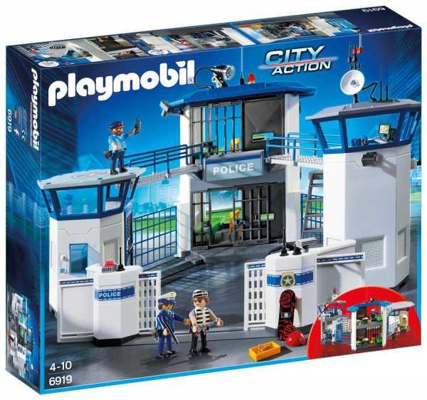 Playmobil 6919 - Stazione Della Polizia Con Prigione + Playmobil 6921 - Elicottero Della Polizia Con Luce Di Avvistamento + Playmobil 6920 - Auto Della Polizia