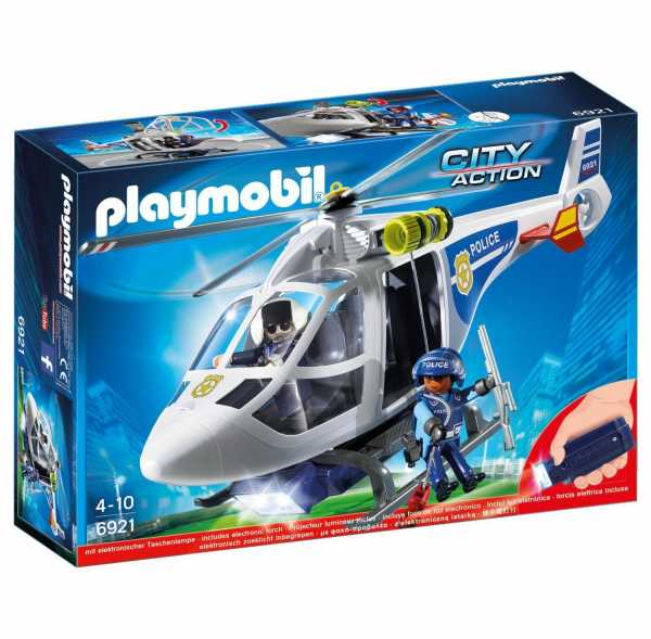 Play Mobil 6921 Elicottero Della Polizia Con Faro Illuminante A LED