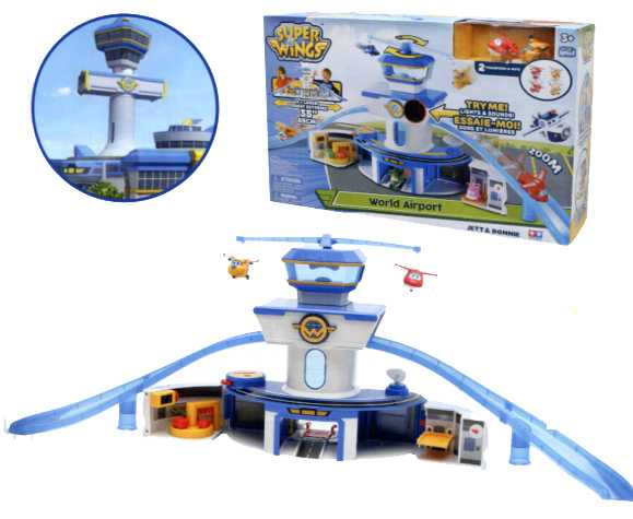 Super Wings Playset Torre Di Controllo Con Luci E Suoni, Personaggi Jett E Donnie Inclusi