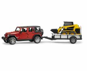 BRUDER JEEP Wrangler Unlimited Rubicon With One Axle Trailer And Cat Skid Steer Loader - Toy Vehicles (Multicolour, ABS Synthetics, Boy, 1:16)