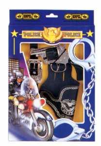 Villa Giocattoli 00045 - Set Pistola Giocattolo In Metallo A 8 Colpi 125 DB, Cinturone E Fondina, Police Agent