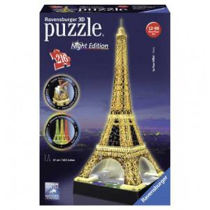 Ravensburger 12579 - Tour Eiffel, Night Special Edition, Puzzle 3D Building Con LED, 216 Pezzi