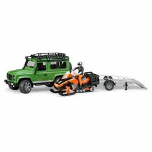 Bruder 02594 - Land Rover Defender Con Rimorchio E Motoslitta