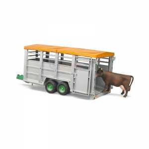 Bruder 02227 - Rimorchio Tandem Trasporto Animali C/Mucca