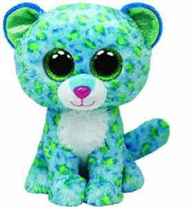 TY 34102 Leona Buddy - Peluche Di Piccolo Leopardo Con Occhi Brillanti, Misura: L, 24 Cm, Colore: Verde/Blu