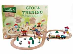 Legnoland 36573 - Pista Treno In Legno, 40 Pezzi
