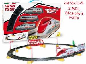 Teorema 61660 Trenino Elettrico Freccia Veloce Con Pista 230 Cm Bianco/Rosso