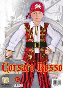 COSTUME CORSARO ROSSO TG 3-4 - Fiori (61390)