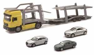 NewRay 15865 - Man F2000 Twin Auto Carrier Camion Con Tre Auto, Scala 1:43, Cabina Gialla