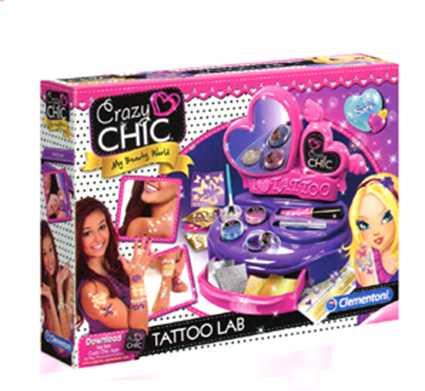 Clementoni - 15316 - Crazy Chic - Il Laboratorio Dei Tatuaggi - Gioco Creativo Per Realizzare Tatuaggi Temporanei - Tatoo Adesivi, Bambina 7 Anni+