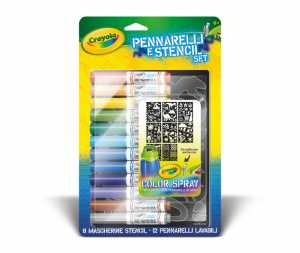 Crayola 04-8735 - Pennarelli E Stencil Set Boy